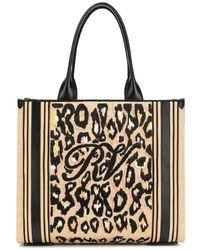 Roger Vivier Shopping Viv' Raffia Leopard Embroidery Bag - Multicolour