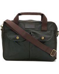 Barbour Leather Laptop Bag - Green