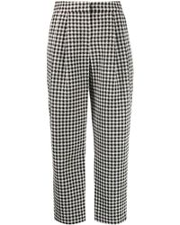 Emporio Armani Cropped Houndstooth Pattern Trousers - Black