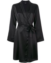 La Perla Silk Short Robe - Black