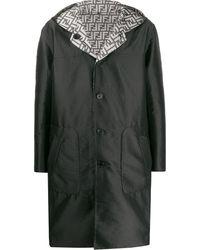 Fendi Reversible Ff Hooded Trench - Black