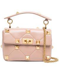 Valentino Garavani Roman Stud Top-handle Bag - Pink