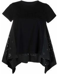 Sacai Bandana-perforated Draped Blouse - Black