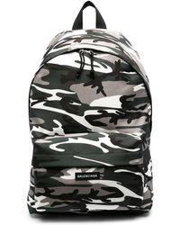 Balenciaga Zaino Explorer con stampa camouflage - Grigio