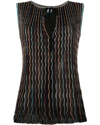 M Missoni Fine-knit Embroidered Blouse - Black