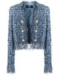 Balmain Tweed Fringed Jacket - Blue