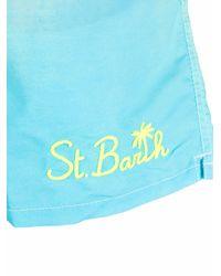 Mc2 Saint Barth Tie-dye Logo-print Swim Shorts - Blue