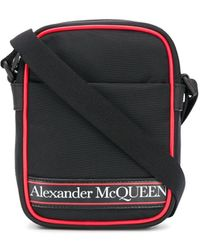 Alexander McQueen Borsa messenger con stampa - Nero