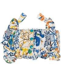 Dolce & Gabbana - Maiolica Printed Poplin Top - Lyst