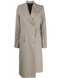 Eudon Choi Wool Blend Checked Pattern Coat - Brown