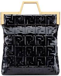 Fendi Borsa shopper con logo FF - Nero