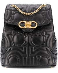 Ferragamo Medium Quilted Leather Backpack - Black
