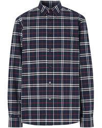 Burberry Alexander Plaid Regular Fit Shirt - Blue