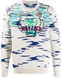 KENZO Claw Tiger Knit Crew - White