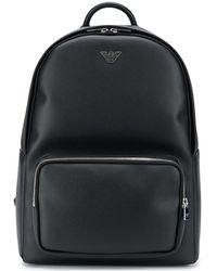 Emporio Armani Logo Plaque Faux Leather Backpack - Black