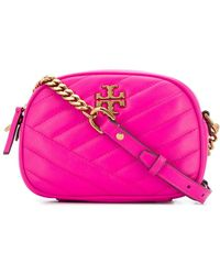 Tory Burch Kira Chevron Small Camera Bag In Pink Nappa Leather