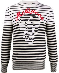Alexander McQueen Crewneck Sweater With Logo - Multicolor