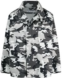 Off-White c/o Virgil Abloh Camouflage Print Field Jacket - Grey