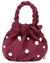 STAUD Grace Pearl-embellished Bucket Bag - Red