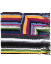Paul Smith Striped Pattern Scarf - Blue
