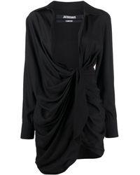 Jacquemus La Robe Bahia Ruched Dress - Black