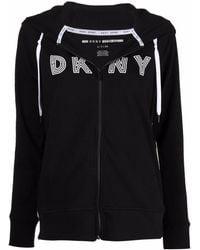 DKNY Logo-print Zip-up Hoodie - Black