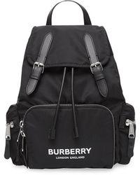 Burberry The Medium Rucksack In Logo Print Econyl® - Black