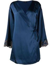 La Perla Maison Silk Short Robe - Blue