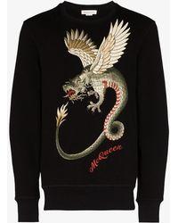Alexander McQueen Dragon-embroidered Cotton Jumper - Black