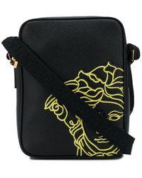 Versace Medusa Logo Leather Crossbody Bag - Black