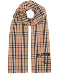 Burberry Check Print Scarf - Natural