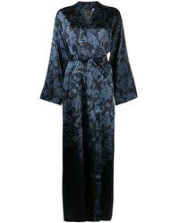 La Perla Tree Of Life Silk Robe - Blue