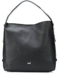 Michael Michael Kors Lupita Large Leather Hobo Bag in Black - Lyst 12f6c6af42