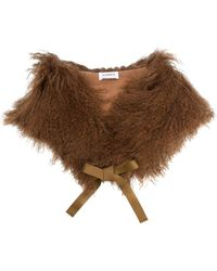 P.A.R.O.S.H. Lamb Fur Shawl - Brown