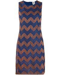 M Missoni Zigzag Sleeveless Shift Dress - Blue