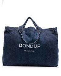 Dondup Logo-print Denim Tote Bag - Blue