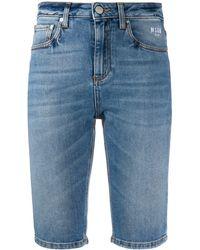 MSGM Shorts denim aderenti - Blu