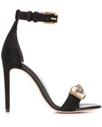 Alexander McQueen Leather Sandals With Butterfly Jewel - Black