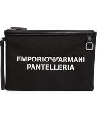 Emporio Armani Pantelleria Logo Clutch Bag - Black
