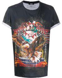 Balmain T-shirt In Cotone Con Stampa - Multicolore
