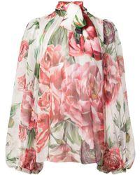 Dolce & Gabbana - Floral Print Silk Shirt - Lyst