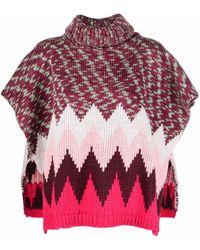 M Missoni Wool Blend Poncho - Multicolour