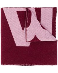 Isabel Marant Logo Print Knitted Scarf - Pink