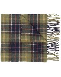 Barbour Wool Scarf With Check Motif - Green