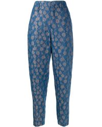 Forte Forte High-waisted Patterned Pants - Blue