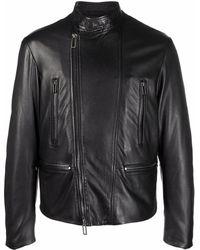 Emporio Armani Leather Biker Jacket - Black