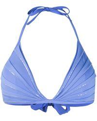 La Perla Sequin-embellished Triangle Bikini Top - Blue