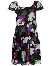 Emporio Armani Floral Print Mini Dress - Black