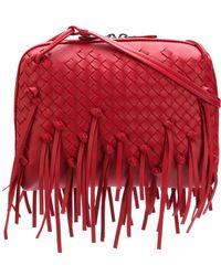 Bottega Veneta - Nodini Intrecciato Fringed Leather Cross-body Bag - Lyst