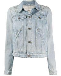 Givenchy Distressed Denim Jacket - Blue